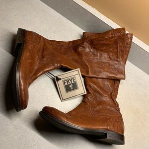 Frye rustic brown leather 6M midcald moto boots